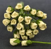 6mm OFF WHITE ROSE BUDS (L) Mulberry Paper Flowers